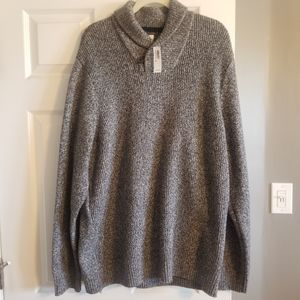 Mens Grey Cowl Neck Sweater